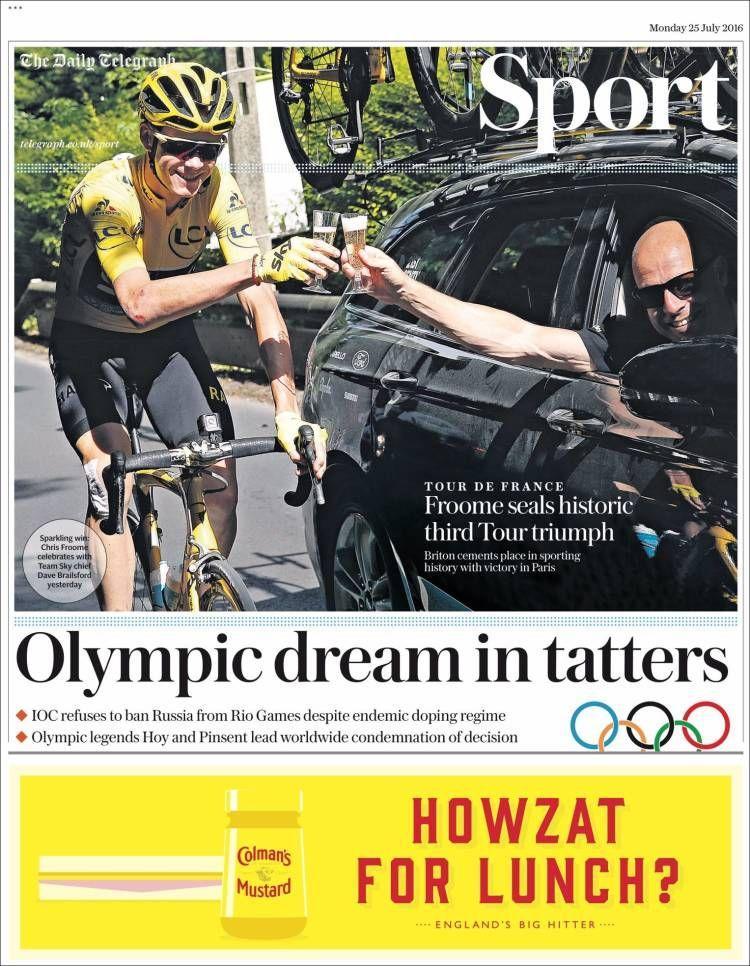 La Une du Daily Telegraph Sport du 25 juillet 2016