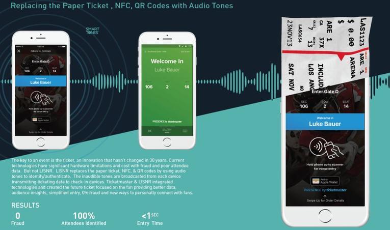 Un radar placé à l'entrée de la salle reconnait l'identifiant sonore des smartphones et autorise l'entrée. (Ticketmaster/Lisnr)
