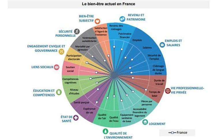 Plus le petit carré blanc s'approche du cercle, plus la France affiche de bons scores par rapport à la moyenne des pays de l'OCDE.