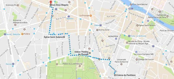 Itinéraire du parcours, avec les différentes étapes.