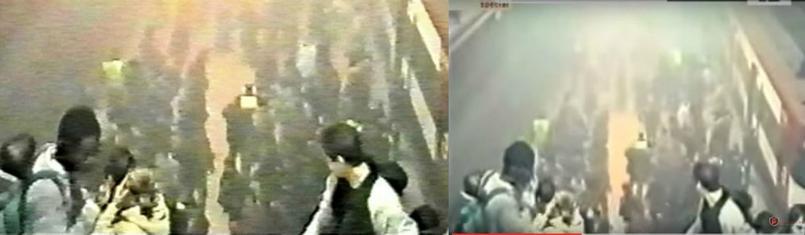 À gauche, une capture d'écran de la vidéo diffusée sur Twitter comme étant celle du métro Maelbeek. À droite, une image des attentats de Madrid publiée sur le site espagnol de 20 Minutes pour raconter, minute par minute, les attentats de 2004.