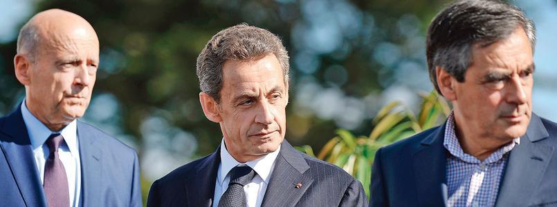 Alain Juppé, Nicolas Sarkozy et François Fillon lors de l'université des Républicains, en septembre 2015 à La Baule.