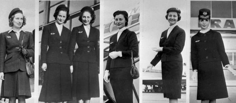 Evolution de l'uniforme des hôtesses d'Air France entre 1946 et 1963.