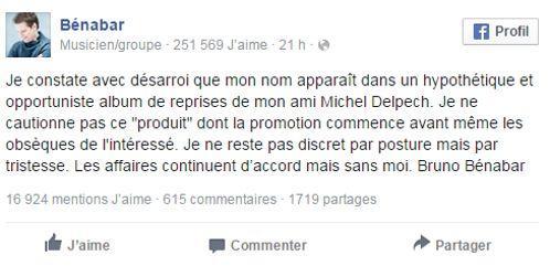 Posté sur le compte Facebook de Bénabar.
