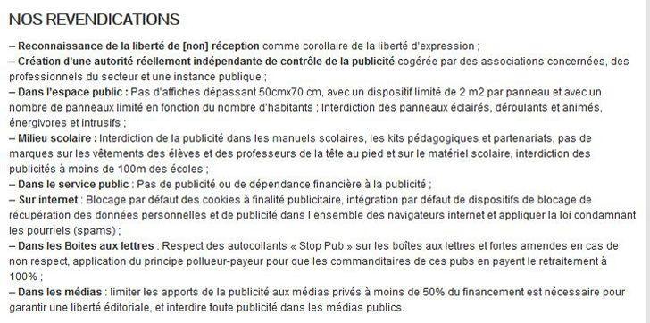Principales revendications de la RAP. source: http://antipub.org/asso/manifeste-contre-le-systeme-publicitaire/
