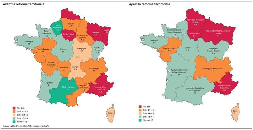 La capacité de désendettement (en nombre d'années) des nouvelles régions. Source: Moody's