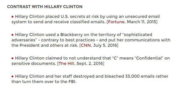 Les principales différences entre Donald Trump et Hillary Clinton en matière de cybersécurité. Source: donaldjtrump.com