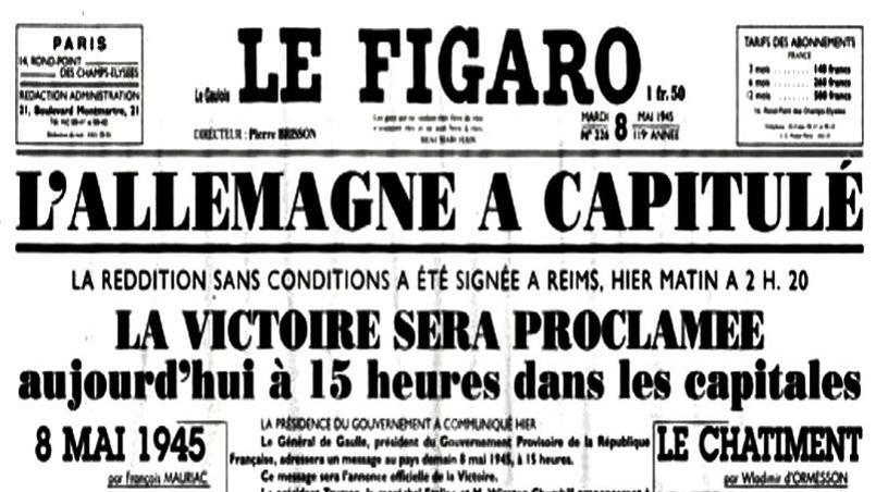 La une du Figaro du 8 mai 1945