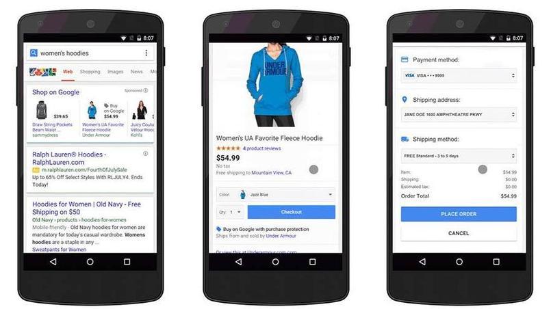 Le bouton d'achat de Google sur mobile.