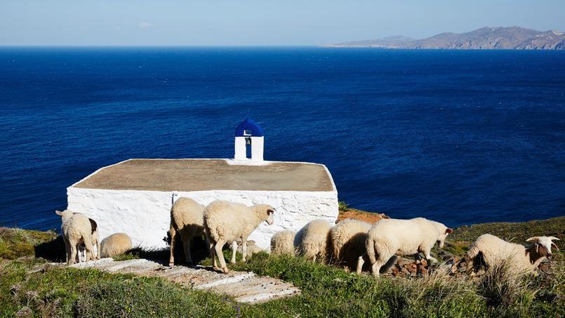 Harmonieux contraste entre le bleu lumineux des Cyclades et les paysages doux de Tinos. On est a mille lieux de la frénésie de sa voisine, Mykonos, qui se détache sur l'horizon.