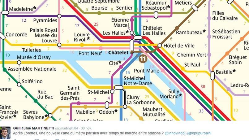 La carte du métro parisien, avec le temps de marche entre les stations, sur le compte Twitter de Guillaume Martinetti.