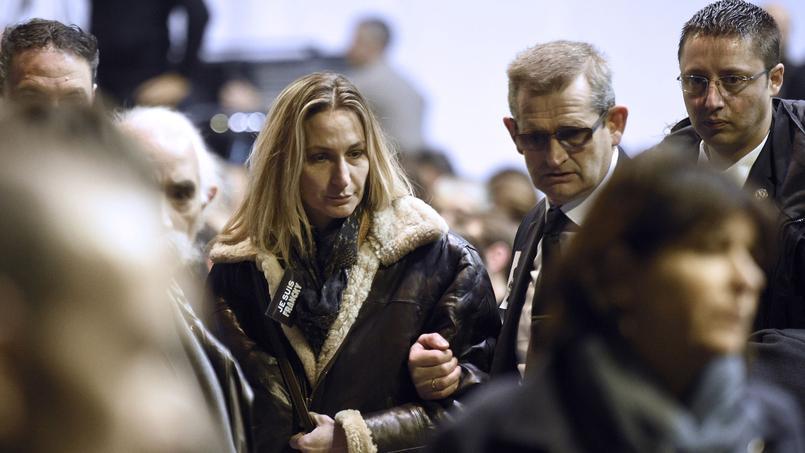 Ingrid Brinsolaro, épouse du policier Franck Brinsolaro, lors des funérailles du dessinateur Charb, le 15 janvier 2015.