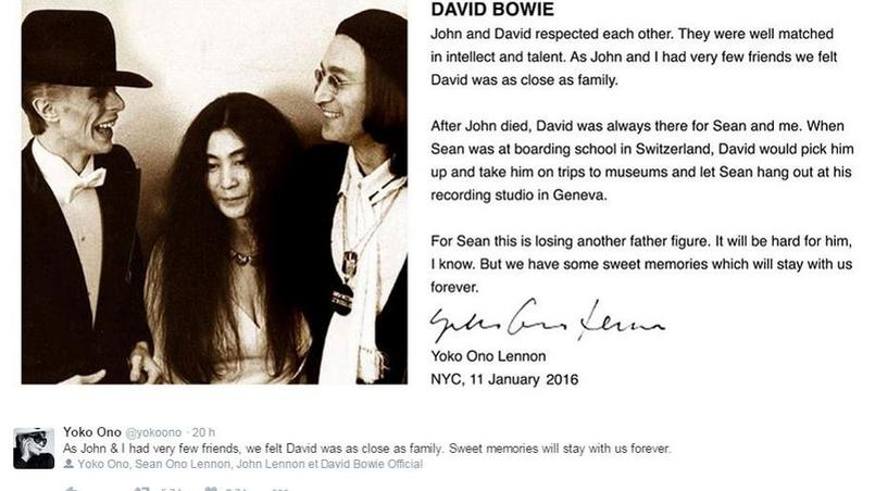 Le tweet publié par Yoko Ono.