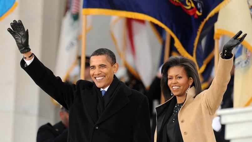 Barack Obama et sa femme et Mechele, le 18 janvier 2009 devant le Lincoln Memorial.