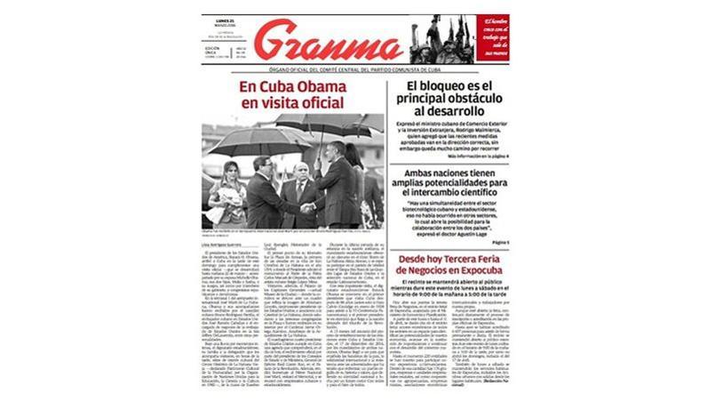 La Une sans emphase du quotidien officiel cubain Granma «Obama en visite officielle à Cuba» contribuait à renforcer l'idée d'une volonté de ne pas donner trop de relief à cette visite.