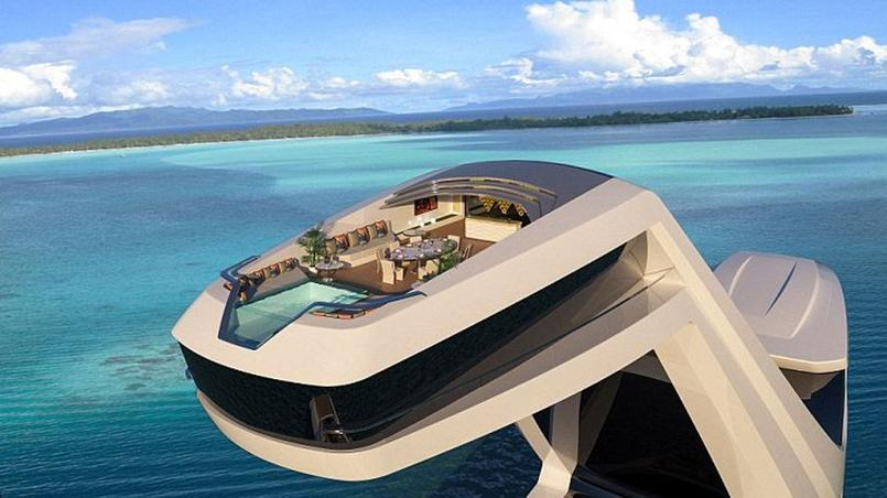 un impressionnant yacht avec une piscine d bordement. Black Bedroom Furniture Sets. Home Design Ideas