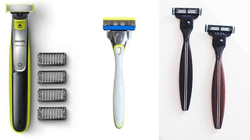 De gauche à droite, tondeuse hybride One Blade, Philips, 39,99 € ; Rasoir Hydro 5 Sensitive cinq lames, Wilkinson, 9,50 € ; rasoir artisanal fabriqué en France dans du bois d'ébène ou de palissandre, The Morning Company, 159 €. (Photos presse.)