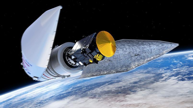 En mars 2016, le dernier étage de la fusée proton met Trace Gas Orbiter et Schiaparelli sur leur trajectoire vers Mars. Crédit: ESA/ATG medialab