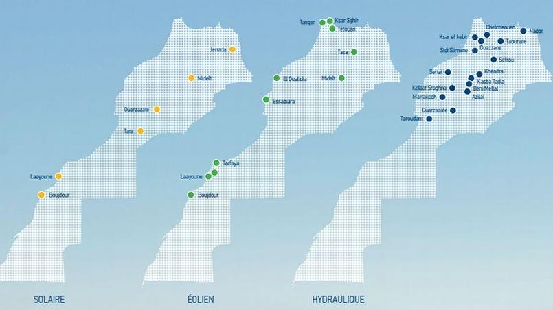 Les projets (réalisés et en cours) d'énergies renouvelables au Maroc ( source: Masen)