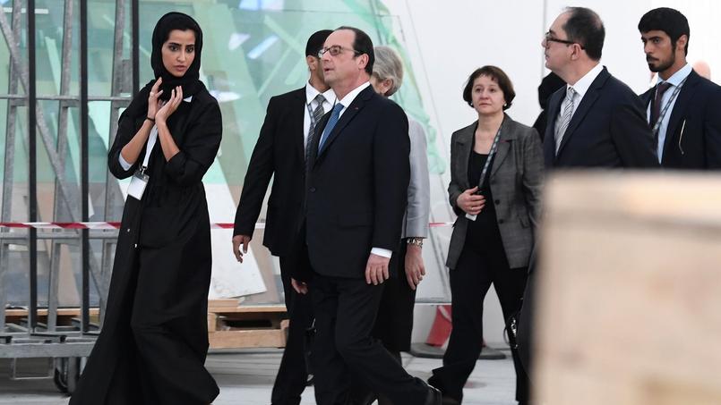 Samedi lors de la visite du chantier du musée du Louvre à Abou Dhabi.