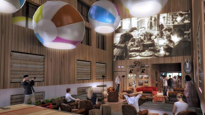 Image de synthèse représentant les pièces communes du Rocky Pop Hotel. ©RockyPop Hotel