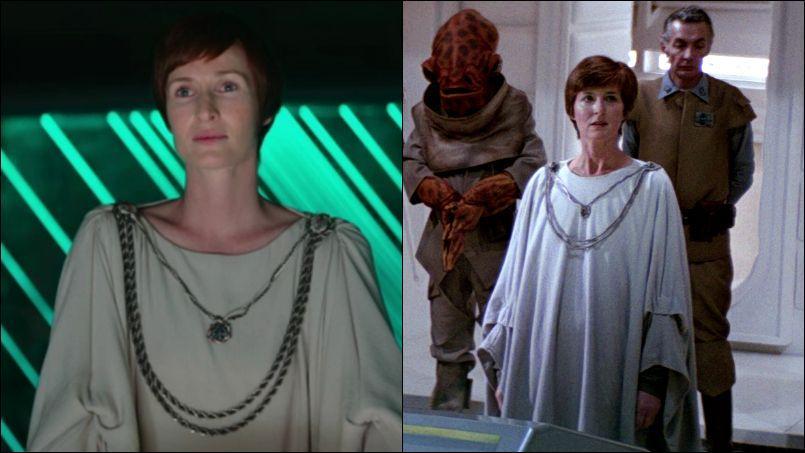 Mon Mothma dans Rogue One (à gauche) / Mon Mothma dans Le Retour du Jedi.