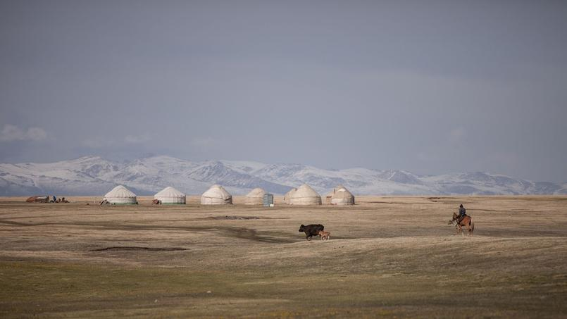 Sur les hauts plateaux des montagnes kirghizes.
