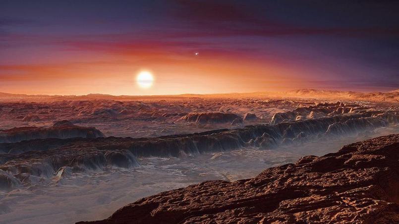 Une vue d'artiste de la surface de la planète Proxima Centauri b - Crédit ESO/M Kornmeser