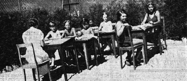 École en plein air et au soleil au Chalet Marie-Jose à Gstaadt. Figaro du 6 septembre 1935.