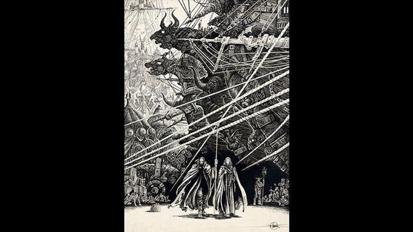 Lone Sloane, «Yragaël ou la fin des temps», 1974, encre de Chine, hommage à Gustave Doré et à son livre «London». Cette case est directement inspirée de l'illustration «les marins au travail», planche 39. Crédits: Philippe Druillet/ Mel Puplisher.