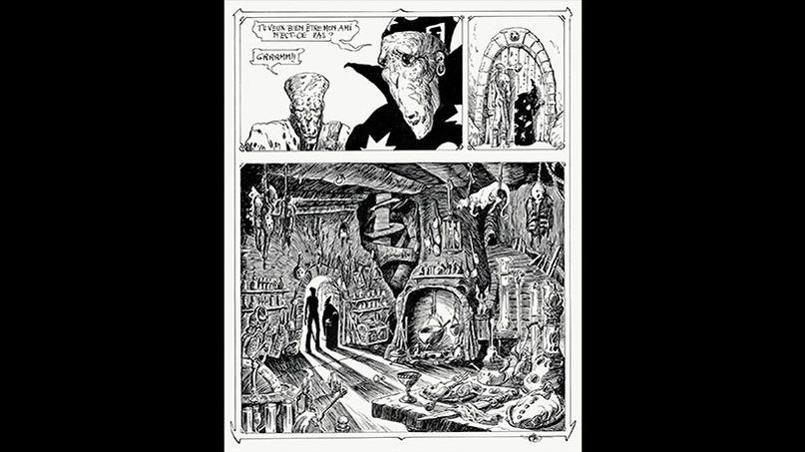 «Vuzz», 1974, encre de Chine sur papier, planche 4de la 3e histoire. Crédits: Philippe Druillet/ Mel Puplisher.