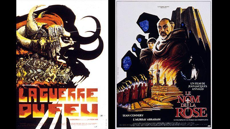 «La guerre du feu» et «Le nom de la rose», peintures pour les affiches des films de Jean-Jacques Annaud. Crédits: Rue des Archives.