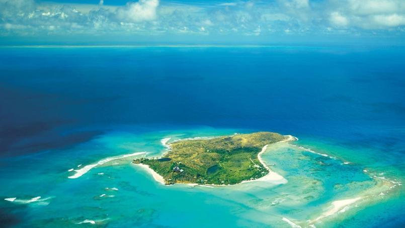 Vue aérienne de Necker Island, qui appartient au fondateur de Virgin, Richard Branson.