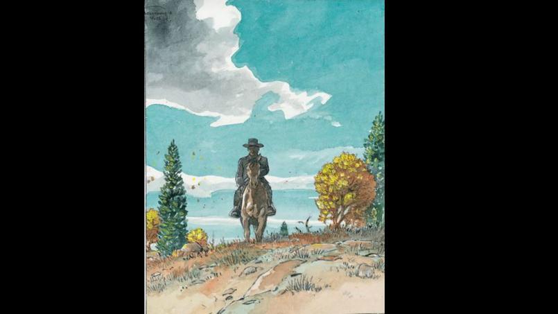 Cette première case de la page 33, tirée de l'album Duke, d'Hermann et Yves H., a été mise en couleur directe par l'auteur.