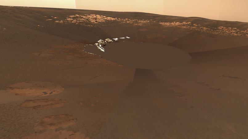 Reconstitution 3D du site d'arrivée d'Opportunity en janvier 2004 avec des affleurements de roches sédimentaires, à partir des images prises par le rover.