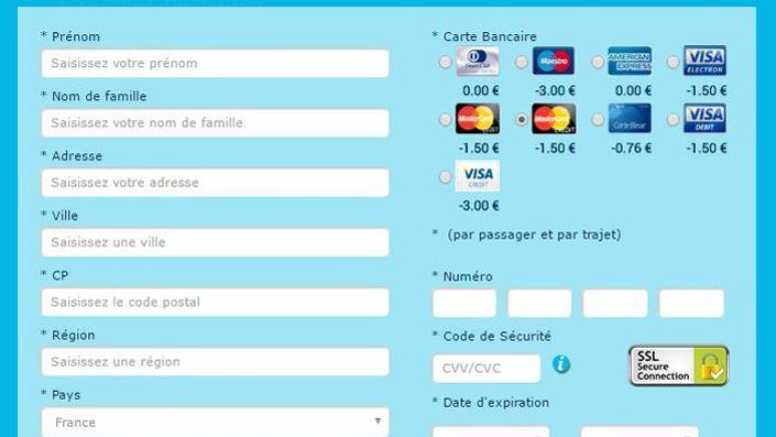 price advantages only apply to certain cards of payment (Screenshot of the site www.govoyages.fr)