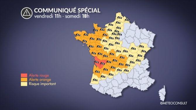 La carte des départemens en alerte aux vents violents en France. (crédits La Chaîne Météo)