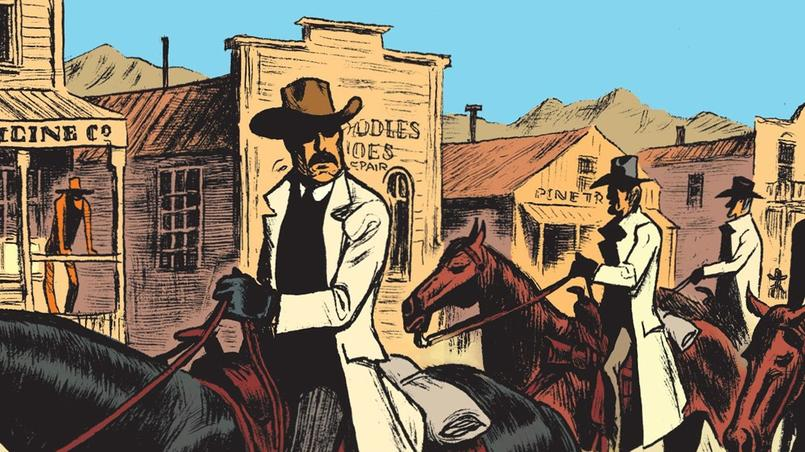 Sur cette case en particulier, on découvre une «horde sauvage» qui débarque dans une ville de l'Ouest. Le ciel est bleu. Les chevaux sont fourbus...