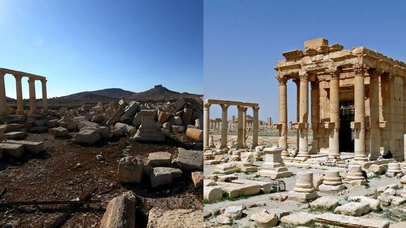 Le temple de Baalshamin, dans la cité antique de Palmyre, en mars 2016 et en avril 2010.
