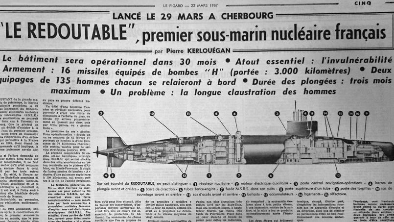 Infographie du sous-marin nucléaire le «Redoutable» parue dans Le Figaro du 22 mars 1967.