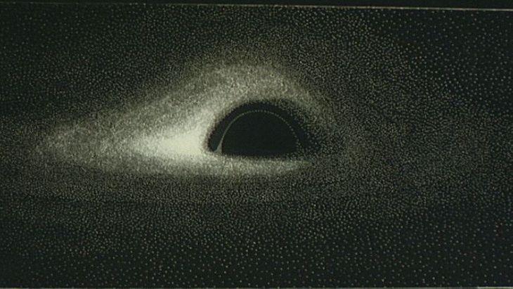 Première visualisation du disque d'accrétion d'un trou noir, en 1979. (Crédits: Jean-Pierre Luminet)