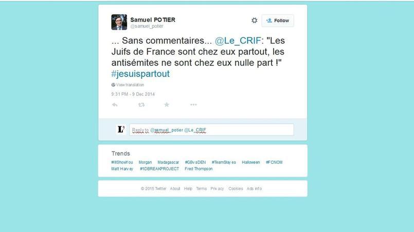 Capture de l'un des tweets de Samuel Potier sur les propos du Crif