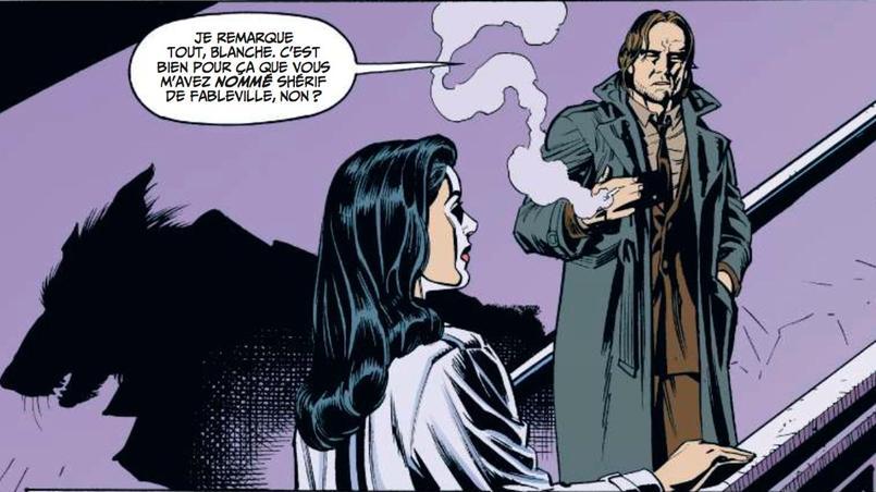 Bigby, alias le Grand Méchant Loup, interpelle Blanche-Neige avant de rentrer sur la scène du crime.