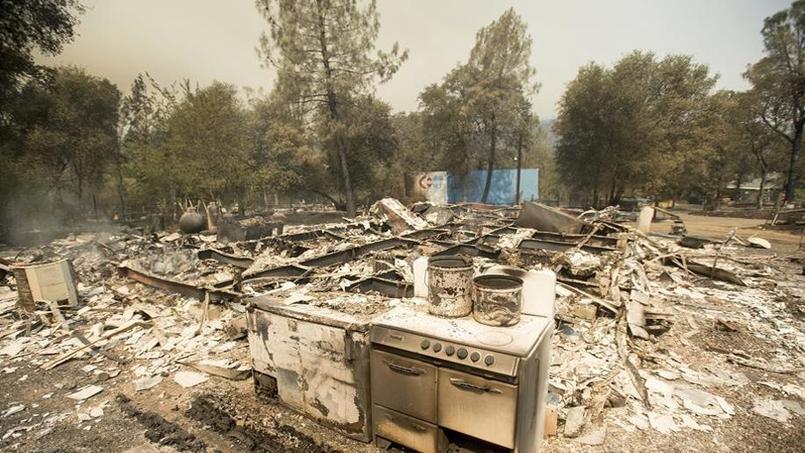 Près d'Oroville, en Californie, une maison détruire par l'incendie. (Crédit photo: Noah Berger / AP)