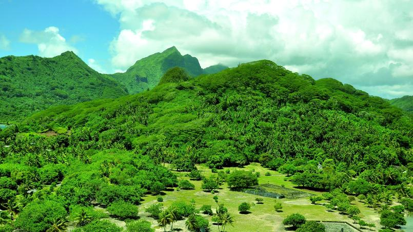 Vue aérienne du complexe du Marae Taputapuātea et de la montagne Tea'etapu. (SCP)