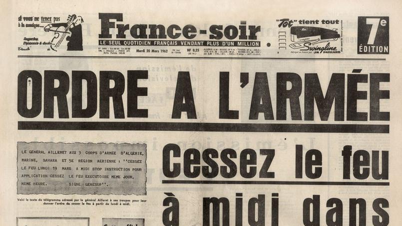 France-Soir du 20 mars 1962 annonçant le cessez-le-feu en Algérie.