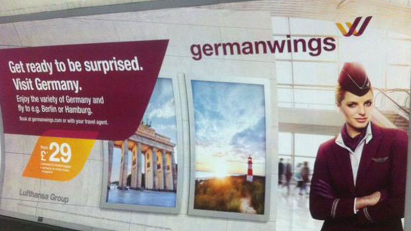 Affiche de la compagnie aérienne Germanwings dans le métro londonien. Crédit Photo Alice Chadfield/Twitter