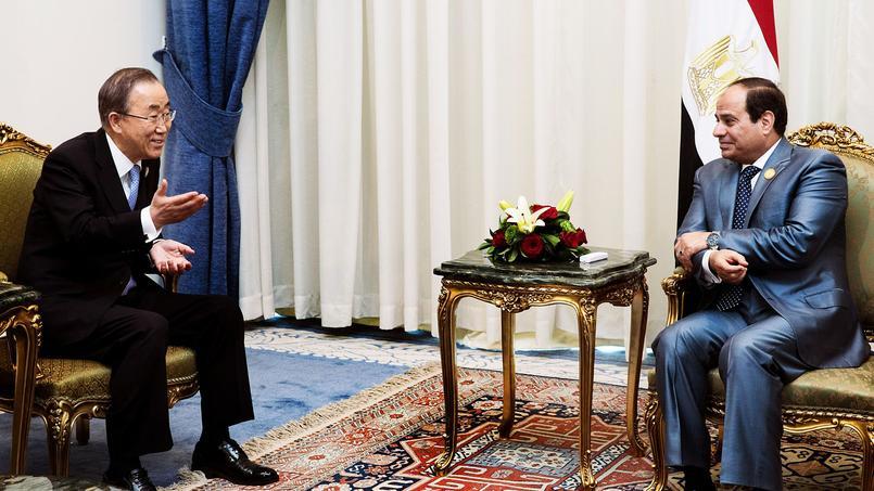 Le secrétaire général de l'ONU Ban ki-moon en réunion avec le président égyptienAbdel Fattah al-Sissi, dimanche, à Charm el-Cheikh