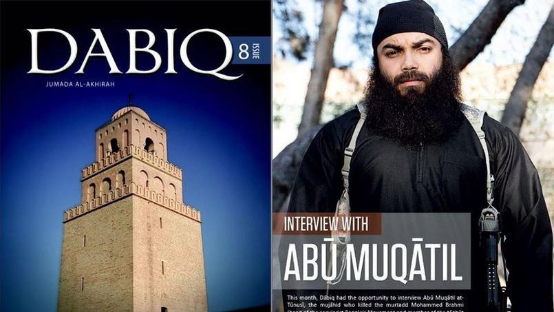 A gauche: la une du numéro 8 du magazine Dabiq avec une photo de la grande mosquée de Kairouan, en Tunisie. A droite, l'interview de Boubakar el-Hakim, djihadiste franco-tunisien membre de la même filière que les frères Kouachi.