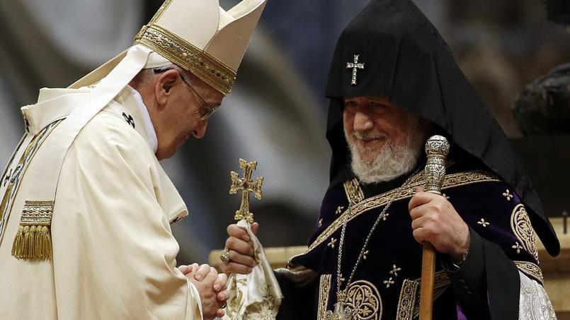 Le pape François concélébrait une messe pour les fidèles de rite catholique arménien avec le patriarche Nerses Bedros XIX Tarmouni.